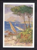 CPM Publicité - CANNES COTE D'AZUR - Reproduction Affiche Ancienne PLM - Tourisme TRAIN Voilier - Pubblicitari