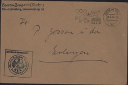 Frei Durch Ablösung Reich Heeres Zeugamt Briefstempel Flamme Olympische Spiele Berlin CAD Berlin 26 6 36 Montée Nazisme - Alemania