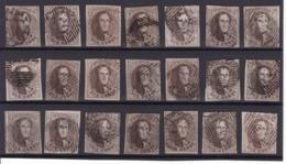 N° 10 A / 10 : Lot 21 Timbres Margés - 1858-1862 Medallions (9/12)