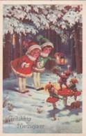 Bonne Année - Gelukkig Neuwjaar - Enfants Lanternerne Et Gnomes- Lutins Sur Champignons (lot Pat 85/2) - Nouvel An