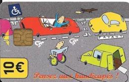 CARTE-STATIONNEMENT-PARIS PUCE-GSM Q-10€-HANDICAPES-R°/V° Glacé-Nota La  Voiture Est Rouge  - TBE - PIAF Parking Cards