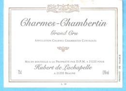 Etiquette-Vin De Bourgogne-Charmes-Chambertin-Grand Cru-Hubert De Lachapelle à Beaune (Côte D'Or) - Bourgogne