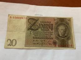 Germany 20 Reichmark Banknote 1929 - [ 3] 1918-1933: Weimarrepubliek