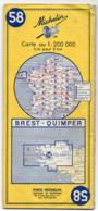 Carte Routière  Michelin N° 58 ---- BREST - QUIMPER ...............à Saisir - Cartes Routières