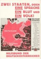 """III. Reich, Propaganda Karte, """" ZWEI STAATEN, DOCH EINE SPRACHE, EIN BLUT Und EIN VOLK ! """" - Guerre 1939-45"""