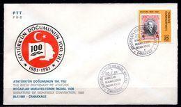 1981 TURKEY SIGNATURE OF MONTREUX CONVENTION 1936 FDC - 1921-... République