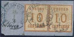 """Alsace N°5 En Paire Obl Allemande CàD Rond """" K.PR. FELDPOST RELAIS N°19 """" CHALONS SUR MARNE Sur Fragment - Postmark Collection (Covers)"""