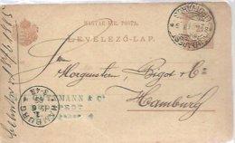 POSTKARTE  1885  TO HAMBURG - Entiers Postaux