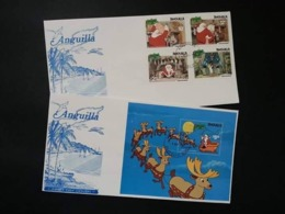 Anguilla Walt Disney The Night Before Christmas 1981 Cartoon Animation (FDC Pair) - Anguilla (1968-...)