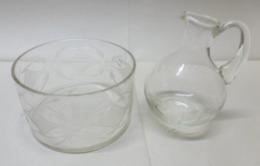 Petit PICHET Huilier Vinaigrier Et POT En VERRE Décorés - Dishware, Glassware, & Cutlery
