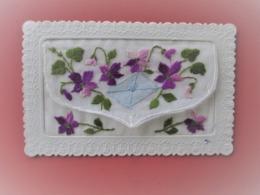 Carte Dentelée A Systeme Brodée-décor Lettre Qui S'ouvre Tres Fleurie- SAINT NICOLAS - Embroidered