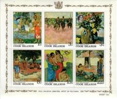 ISOLE COOK 1967  - ARTE QUADRI GAUGUIN - FOGLIETTO 6 VALORI  - MNH ** - Cook
