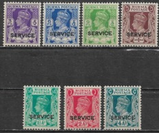 Burma 1939. Scott #O15-21 (M) King George VI ** Complet Set - Birma (...-1947)
