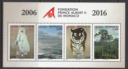 2016 Monaco Tiger Cat Trees Polar Bear Environment  Souvenir Sheet Complete  MNH @ 80% FACE VALUE - Big Cats (cats Of Prey)