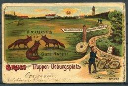 1907 Soldaten Military Comic Foxes Postcard. GRUSS Vom Truppen Verbungsplatz - Briefe U. Dokumente