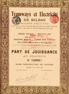 TRAMWAYS Et ÉLECTRICITÉ De BILBAO; Part De Jouissance - Railway & Tramway