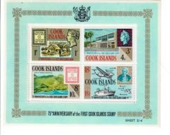 ISOLE COOK 1967 - 75° DEL PRIMO FRANCOBOLLO - FOGLIETTO  - MNH ** - Cook