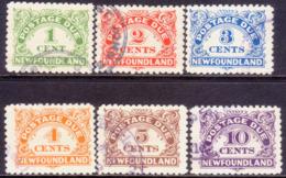 1939 NEWFOUNDLAND SG #D1-D6 Compl.set Postage Due Used CV £150.00 All Perf.10 - Newfoundland