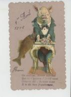POISSON 1ER AVRIL - COCHONS - PIG - Jolie Carte Fantaisie Petit Format Cochon Avec Cartes à Jouer - 1er Avril - Poisson D'avril