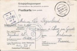 Formulaire Prisonnier De Guerre 1943 Franchise Postale Stalag XII F FORBACH (Moselle) + Censure Kriegsgefangenenpost - Marcophilie (Lettres)