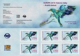 Slovakia - 2019 - Europa CEPT - National Birds - European Roller - Mint Self-adhesive Stamp Booklet - Slowakische Republik