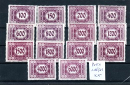 """Österreich 1922: """"PORTO-NeueZiffernzeichnung """" Nr. 118-131 Kpl. Postfrisch (s.Foto) - Strafport"""