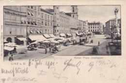 Linz * Kaiser Franz Josefsplatz, Markt, Geschäfte, Tram * Österreich * AK1531 - Linz