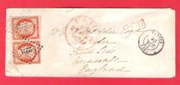 Paire 40c Orange Ceres YT5 Sur Lettre Pour St Ives England Angleterre 1852 Marges Superbes Signée Roumet - Postmark Collection (Covers)
