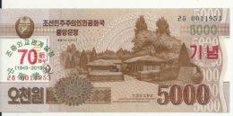 COREE DU NORD 5000 WON 2019 UNC P CS23 ( 70e Anniversaire) - Korea, Noord