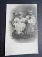 20008) COPPIA DI BAMBINI FOTOCARTOLINA PRIVATA NON VIAGGIATA MA 1907 PHOTO LOUVIER LA SPEZIA - Anno Nuovo