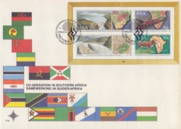 Rep. Of SOUTH AFRICA :1990: Y.BF24 On FDC : ## Co-Operation In SOUTHERN AFRICA ##BARRAGE,RAILWAYS,TRAIN,AGRICULTURE,MAP, - FDC