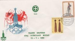 Grèce   Lettre 1er Jour, Jeux Olympiques 19.07.1980  (A25) - Grèce