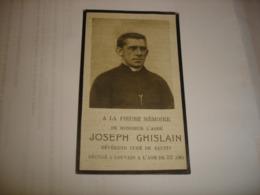 FAIRE PART MORT - JOSEPH GHISLAIN 1921 - CURE DE BIENNE LEZ HAPPART ( LOBBES ) ET SAUTIN ( SIVRY RANCE ) - Esquela