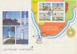 Rep.of SOUTH AFRICA:1988:Y.BF21 On FDC:LIGHTHOUSES,VUURTORENS,PHARES,PELICAN POINT,GREEN POINT,AGULHAS,UMHLANGA ROCKS, - FDC