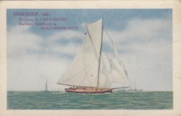 """America's Cup Racing Boat """"MISCHIEF, 1881"""" , 00-10s ; Varnish Co Ad - Sailing"""