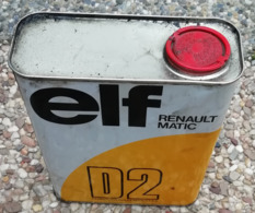 ELF RENAULT MATIC D2  Bidon D'huile Ancien En Tole Pour Collection - Cars