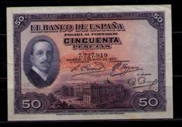 BILLETE DE 50 PESETAS DE 1927 ALFONSO XIII - EXCELENTE CONSERVACION - (SIN SELLO REPUBLICA) - [ 1] …-1931 : Primeros Billetes (Banco De España)