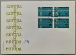 1971 FDC Europamarke Viererblock MiNr: 545 - Liechtenstein