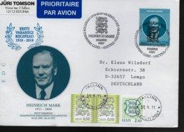 ESTONIE FDC 2018 Heinrich Mark Politicien - Famous People