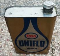ESSO UNIFLO SAE 10 W 40  Bidon D'huile Ancien En Tole Pour Collection - Voitures
