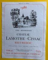 11992 - Château Lamothe-Cissac 1986 Haut Médoc - Bordeaux