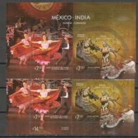 MEXICO-INDIA. émission Conjointe (Ballets Folkloriques Mexico & Danse Kalbelia). Un Bloc-feuillet + Série Neufs ** - Emissions Communes