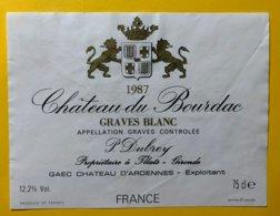 11994 - Château Du Bourdac  1987 Graves Blanc - Bordeaux