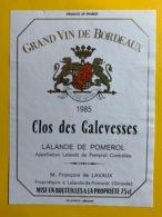 11995 - Clos Des Galevesses 1985 Lalande De Pomerol - Bordeaux