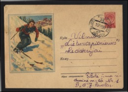 RUSSIA USSR Stamped Stationery Used 56-025 Winter Sports Skying SILUTE LITHUANIA Cancellation - 1923-1991 UdSSR