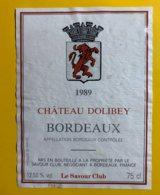 12002  - Château Dolibey 1989 - Bordeaux