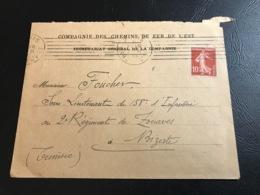 Enveloppe & Bon Pour Voyageurs - 1914 - Cie Chemin De Fer De L'Est - Ss Lt FOUCHER 158e D'Infanterie 2e Rgt De Zouaves - Marcophilie (Lettres)