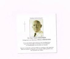 Henri Boonen,Maaseik 28.5.1924.23.10.2008.Lid Van Het Geheim Leger.Vrijwilliger Voor Korea. - Esquela