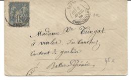 France LSC T15 Paris Gros-Caillou 03/04/84 / YT 90 Pour Conchez De Béarn - Marcophilie (Lettres)