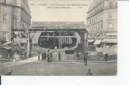 PARIS  Les Travaux Metropolitain Place Saint Michel - Metro, Stations